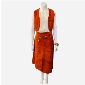 Vintage 70s Suede Vest & Skirt Set Burnt Orange S